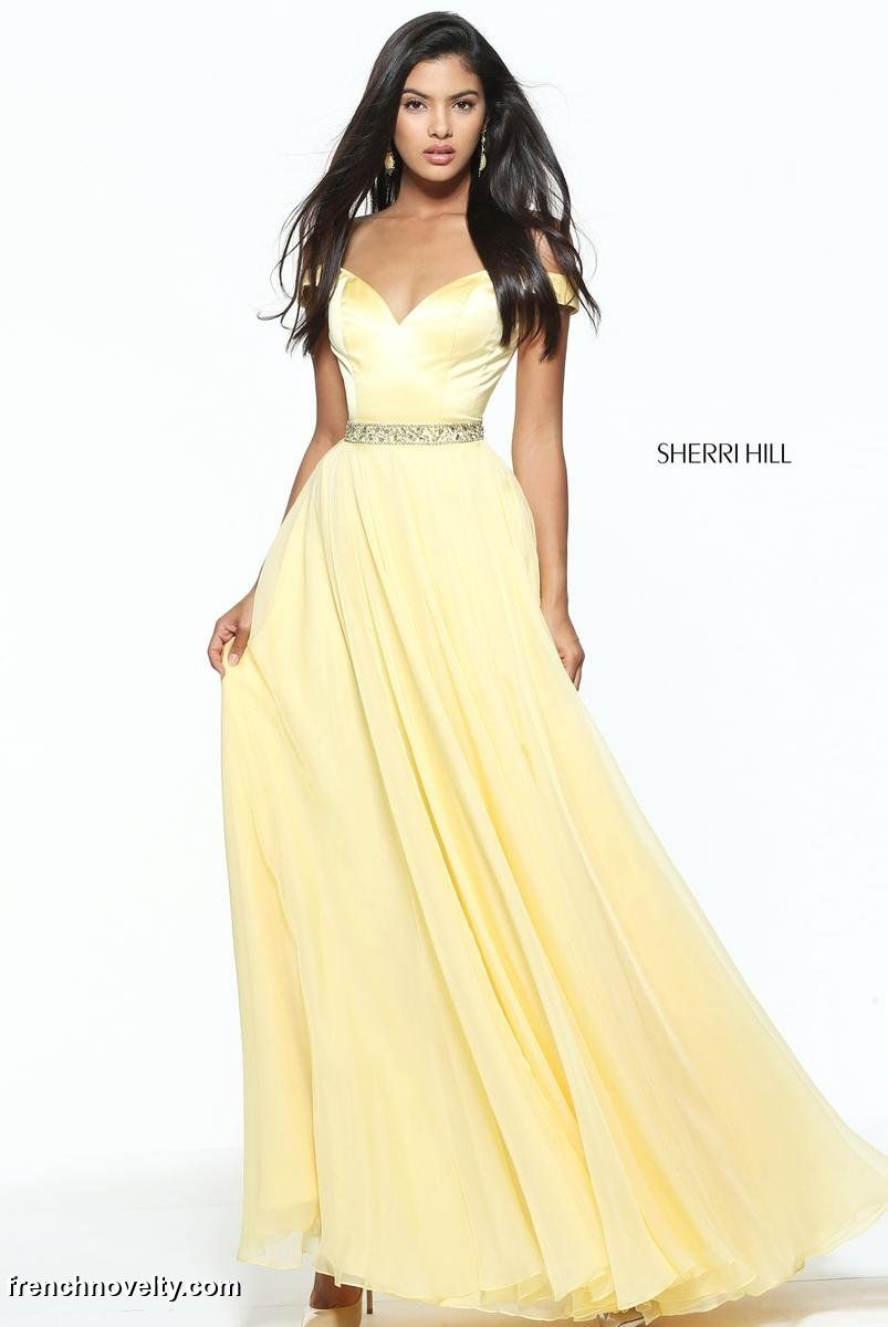 312a68420e62 Sherri Hill 50943 is an off the shoulder sweetheart evening gown with beaded  waist.