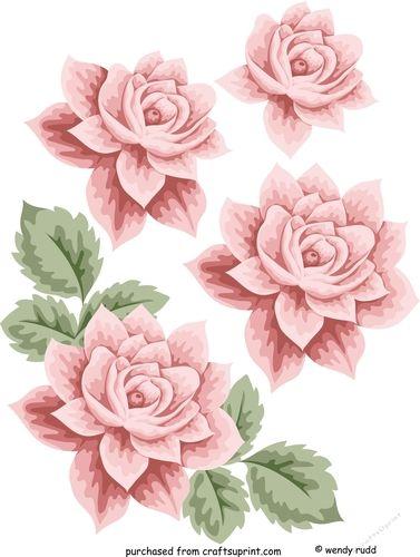 Pink Rose Decoupage Topper scrapbook