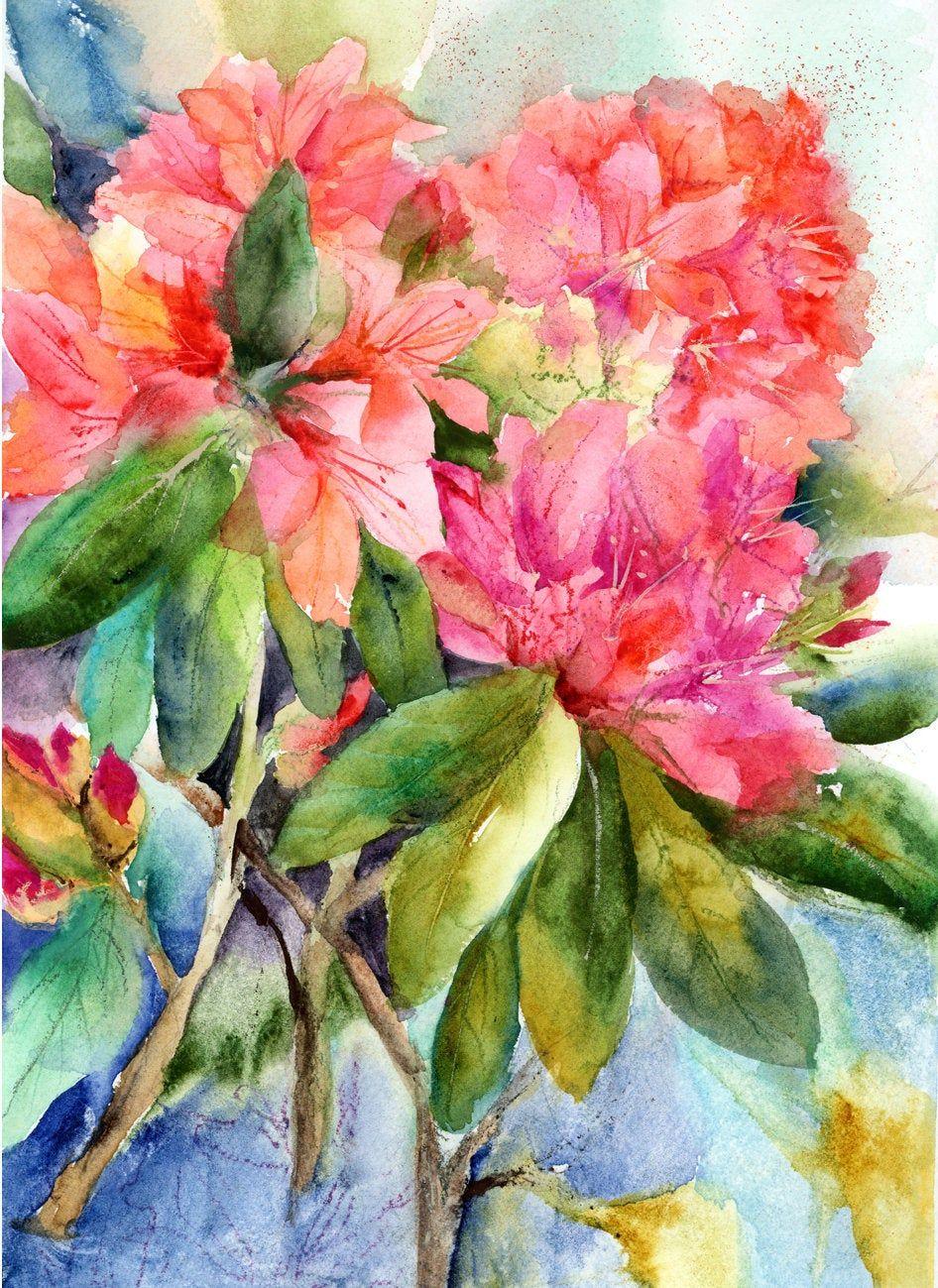 Rhododendron Painting Original Watercolor Watercolor Spring