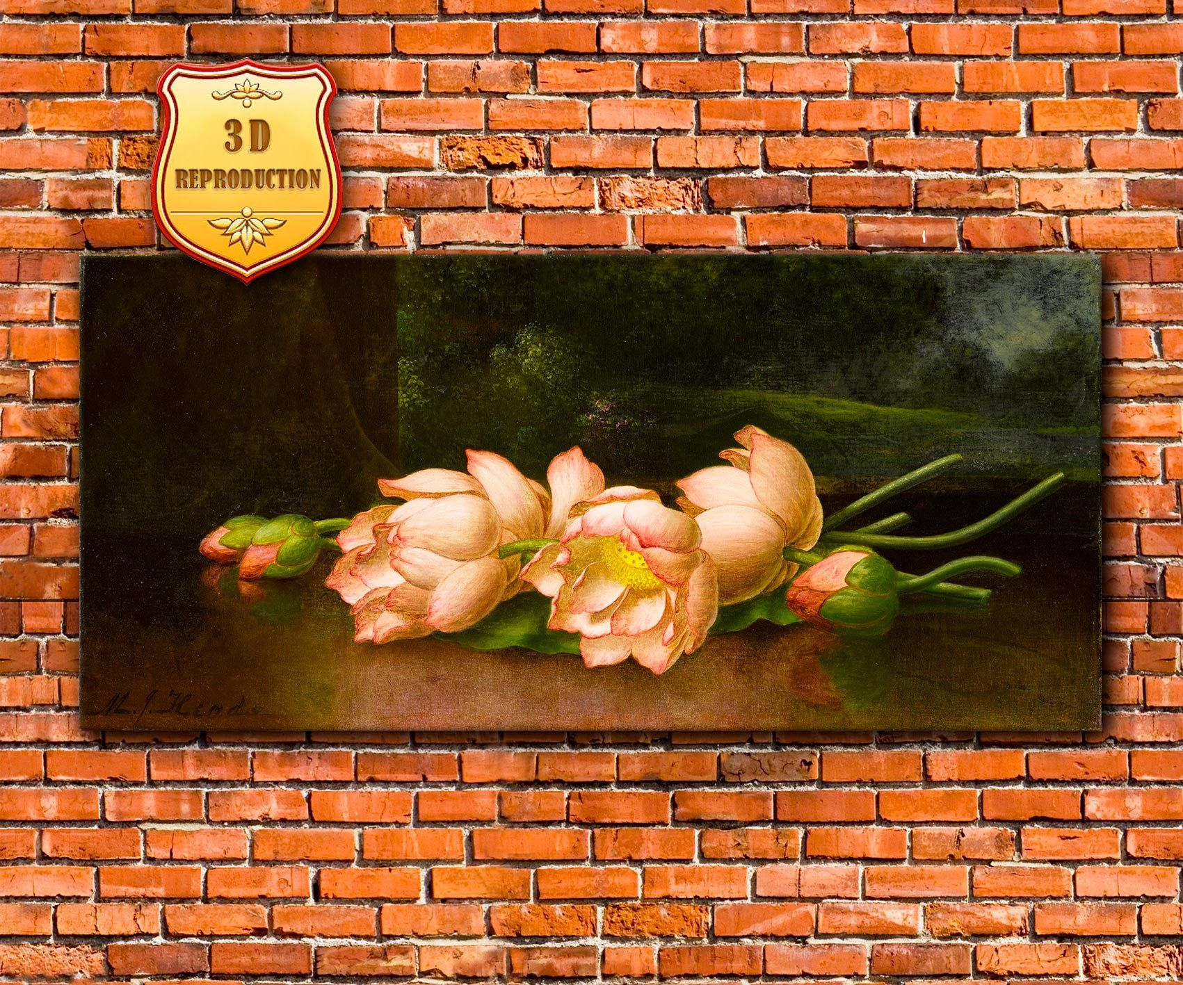 Martin johnson heade lotus flowers from original museum quality lotus flowers from original museum quality hudson river school reproduction giclee 3d oil effect luminism izmirmasajfo Gallery
