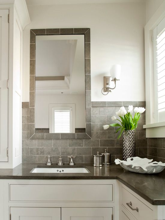 i like this horizontal subway tile backsplash 12 way up wall with thin - Bathroom Subway Tile Backsplash