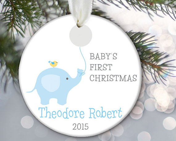 Baby Elephant Ornament Baby\u0027s First Christmas Ornament