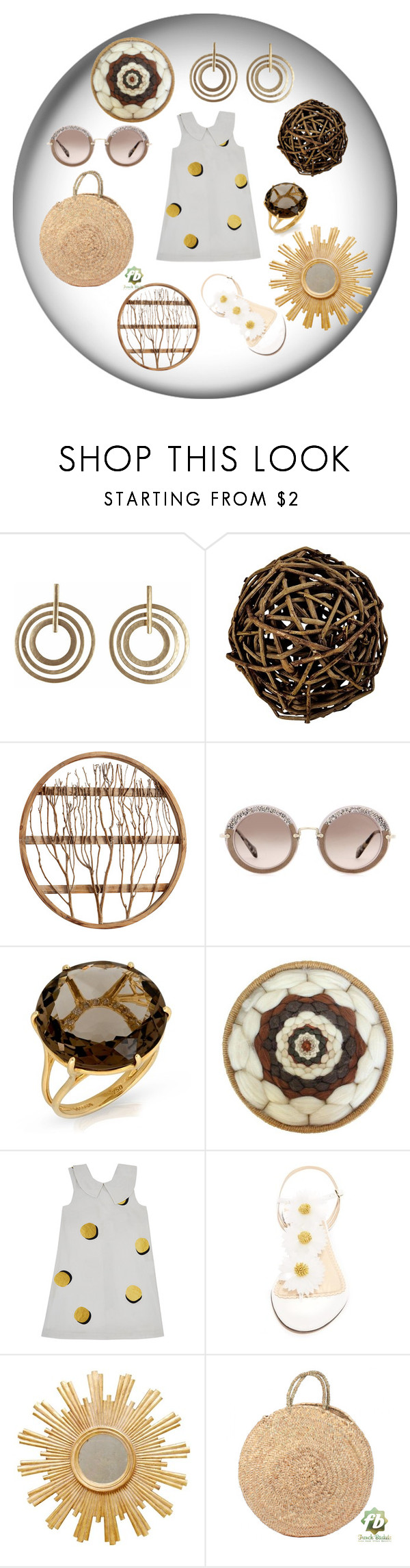 """World is Round"" by ipekzsuel on Polyvore featuring The 2 Bandits, Pier 1 Imports, Cyan Design, Miu Miu, Motoreta, Charlotte Olympia and Worlds Away"