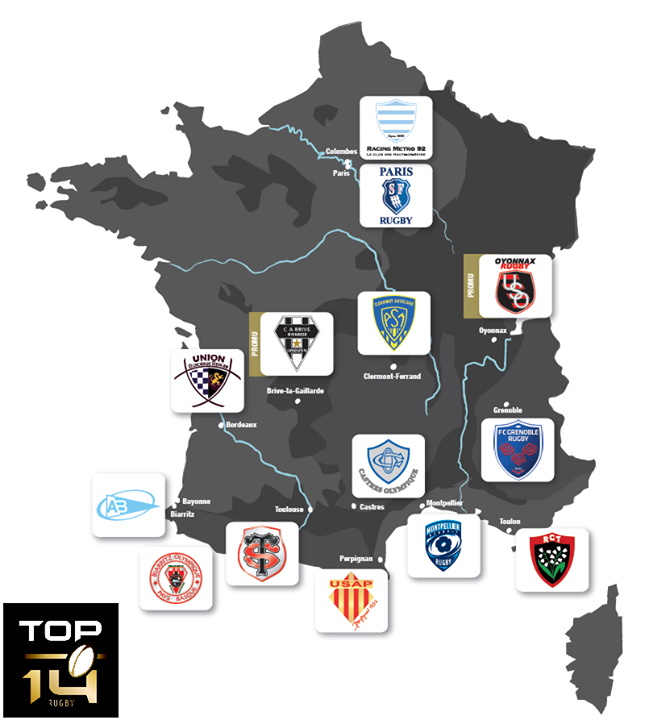 France map of rugby TOP 14 teams Rugby TOP14 Rugby Mad
