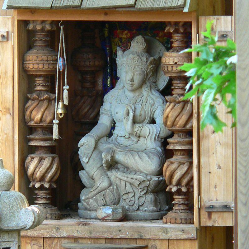 Great Tara Statue In Her Garden Alcove