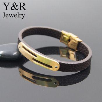 Personalized Boyfriend Gift Custom Mens Bracelet Matted Gold Plated Charm Leather Bracelet