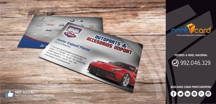 Impresión de tarjeta personal. Cliente: AUTOPARTS & ACCESORIOS IMPORT