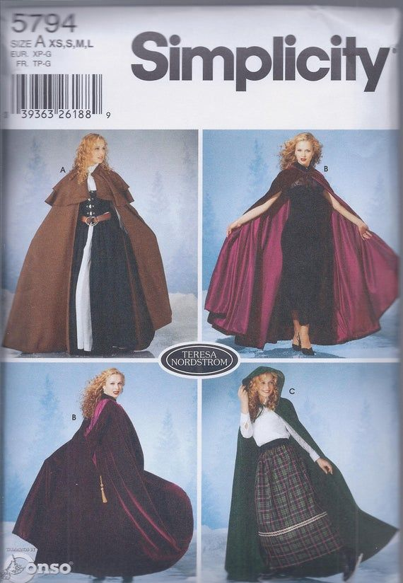 Simplicity 5794 Misses Hooded Capes for Historical, Cos Play or Halloween Costumes UNCUT Sewing Patt #déguisementsdhalloweenfaitsmain