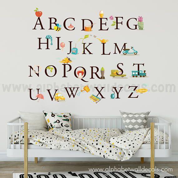 Alphabet Nursery Wall Decal Educational Wall Decal Playroom - Educational wall decals