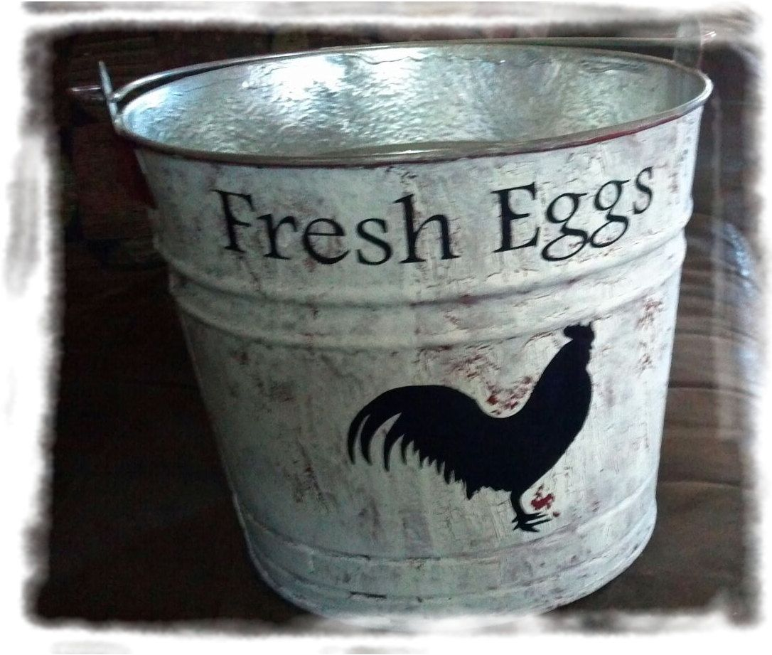 Rustic French Country Shabby Chic Vintage Inspired Metal Fresh Eggs Pail  Bucket.