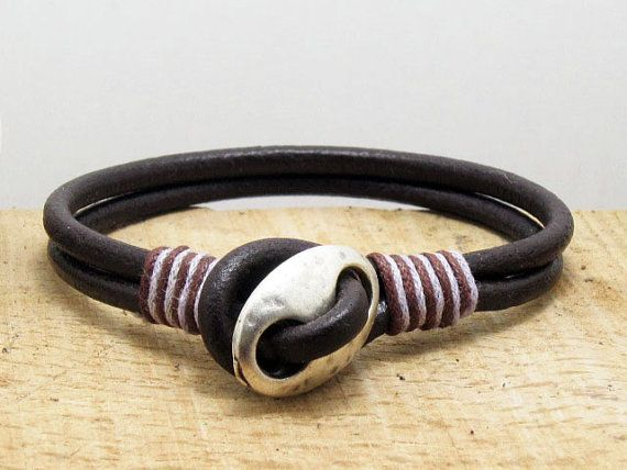 FREE SHIPPING Men's leather bracelet Brown leather by echoleathers, $24.00