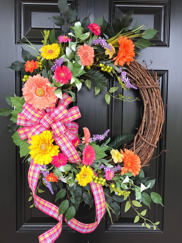 Spring Wreath Gerber Daisy Wreath Wreath For Front Door Summer