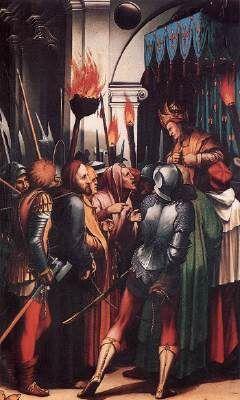 """""""The Passion"""" (detail) - cena de Cristo sendo julgado por Pilates. O homem à esquerda, de calças vermelhas  machado acredita-se ser um Mercenário. Na região, à época a principal fonte de recursos para a cidade tinha associação com grupos mercenários para expedições militares."""