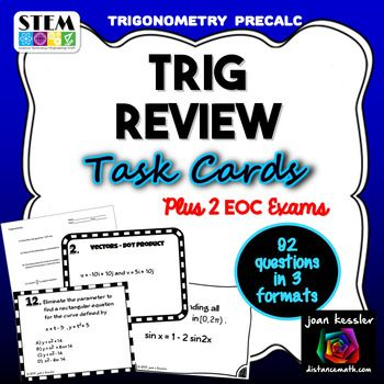 Trigonometry Review Task Cards And Test For PreCalculus EOC