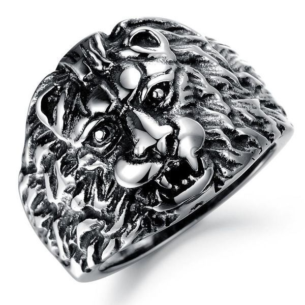 Personalized Lion Mens Vintage Ring 19mm