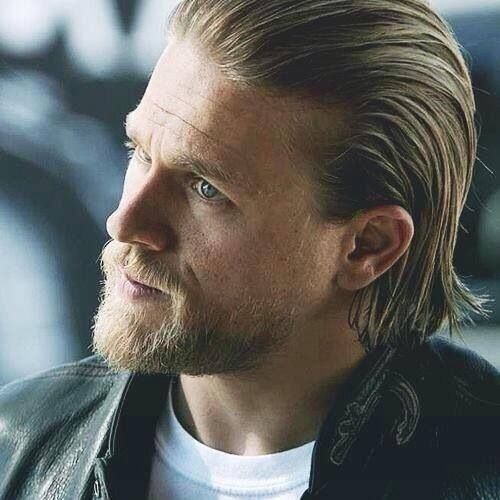 Charlie Hunnam Perfect Blonde Hair And Beard Charlie Hunnam Jax Teller Haircut Long Hair Styles Men