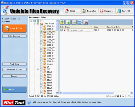 Undeleting files in Windows XP needs free data recovery software MiniTool Power Data Recovery.