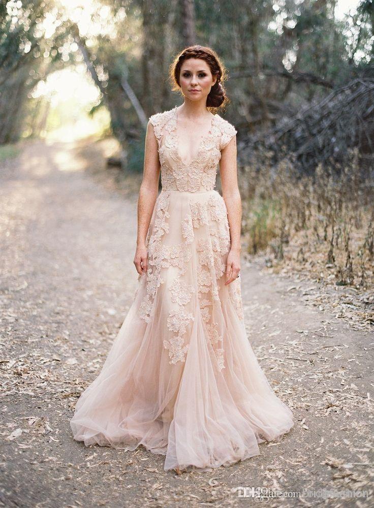Blush Arabic Wedding Dresses V Neck Short Sleeve Vintage Beach