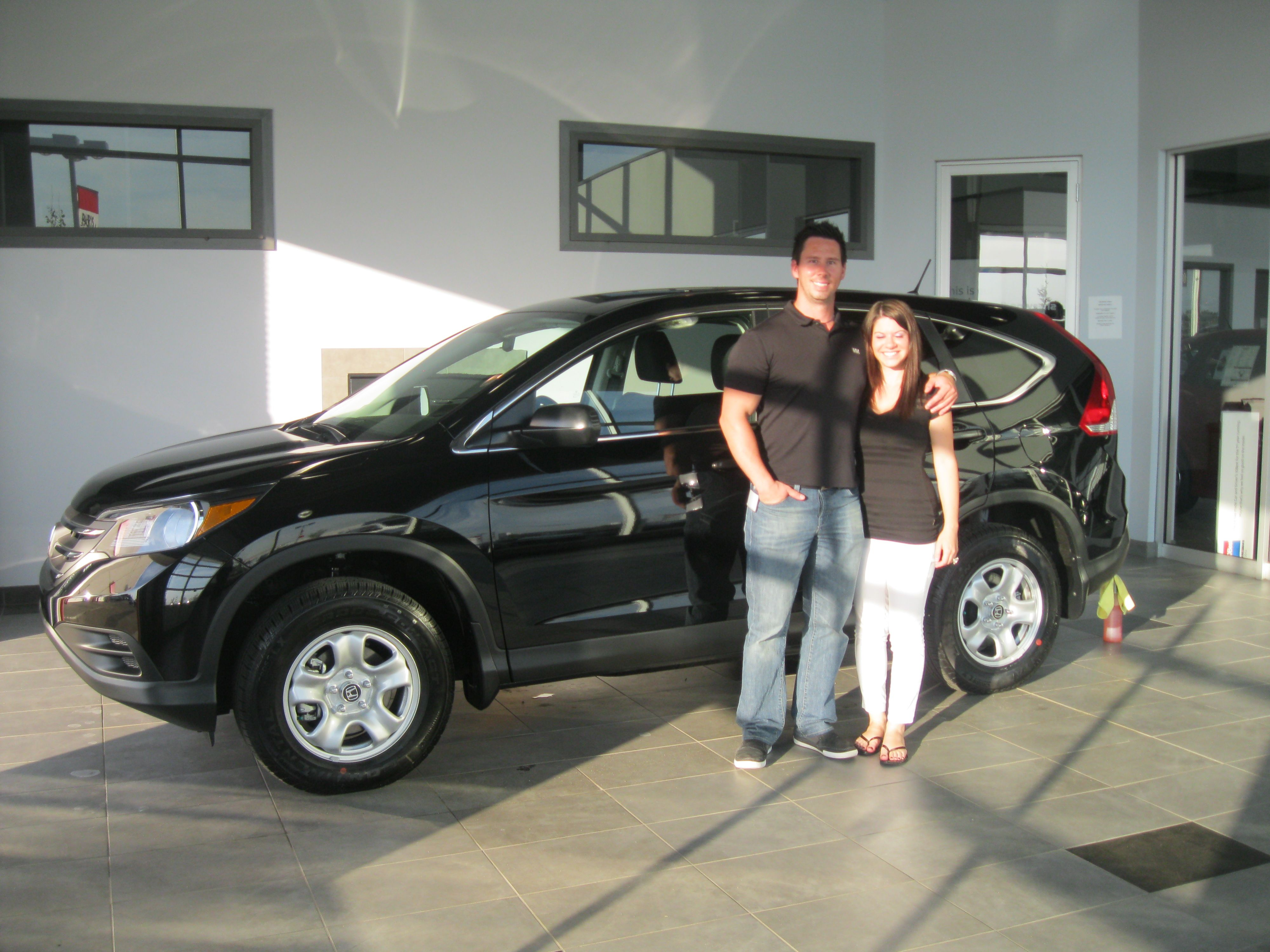 We 'sher-wood' love to congratulate Lara and Greg on the purchase of their brand new 2013 Honda CR-V LX!