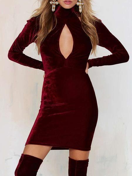Burgundy Velvet High Neck Plunge Cut Out Bodycon Dress - MYNYstyle ... e009ab174