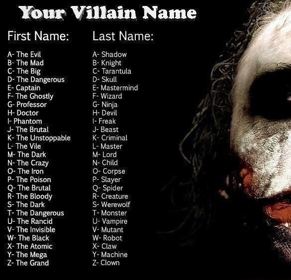 Find yourself a scary name!   Villain names, Name ...