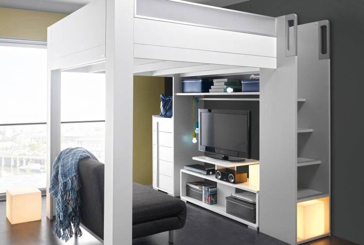 lit haut mezzanine 140x200 blanc gris 140x200 dimix. Black Bedroom Furniture Sets. Home Design Ideas