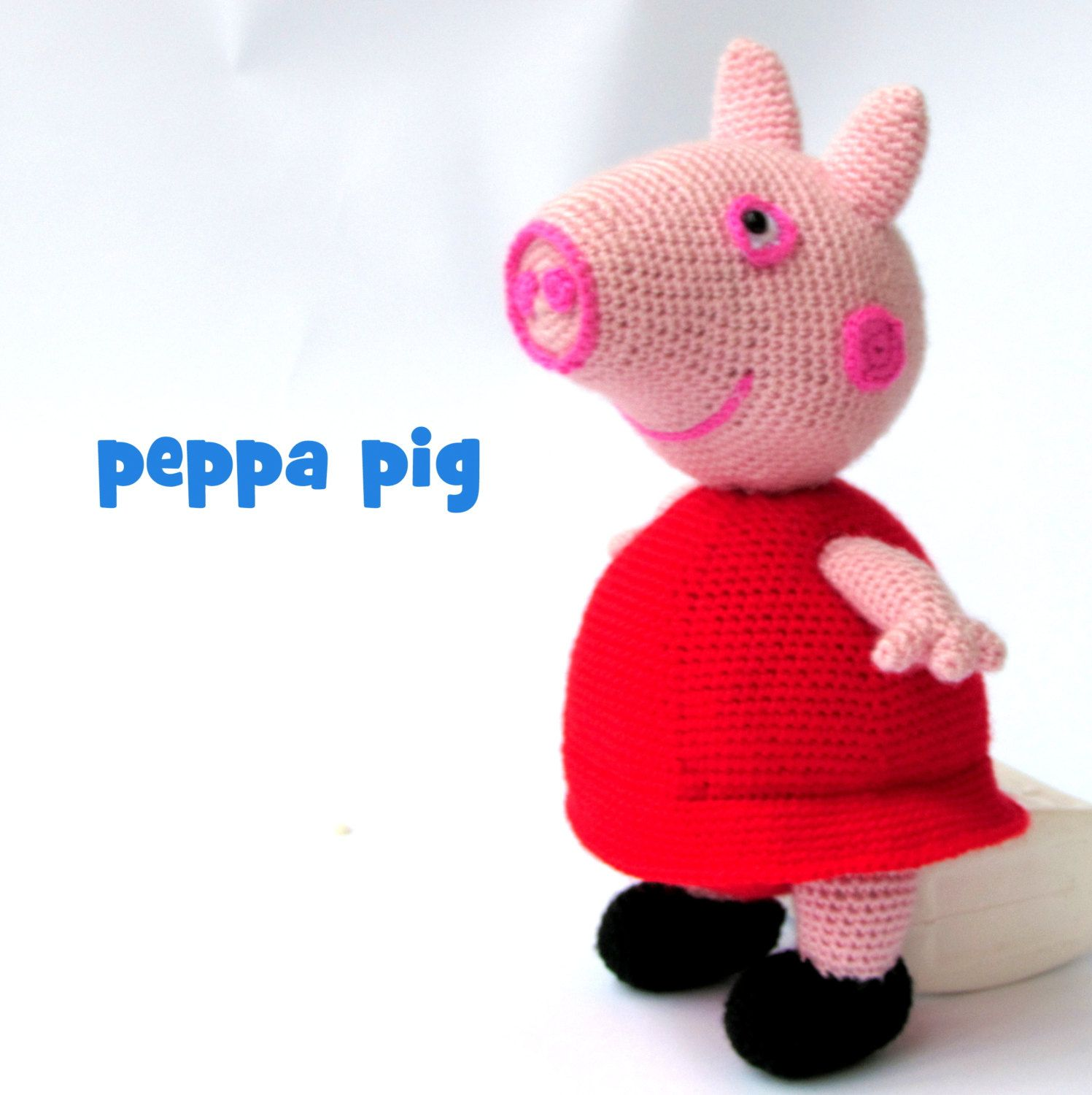 Peppa pig, stuffed Peppa pig, soft toy, knitted peppa pig, unique ...