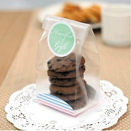 Pas cher 100 Cellophane Scrub Gift Bag For Bakery Cookie Macaron