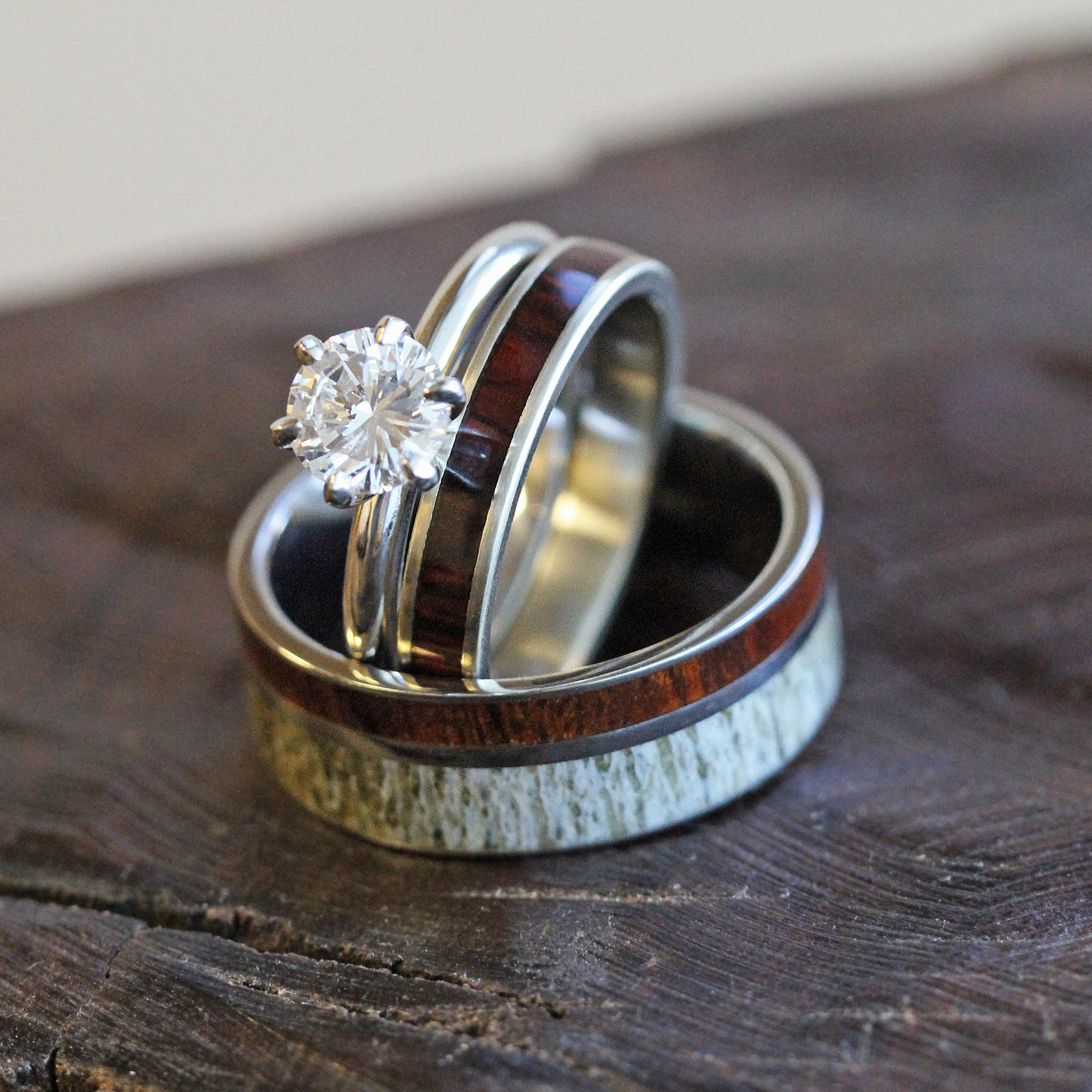Antler And Wood Wedding Ring Set With Diamond Engagement