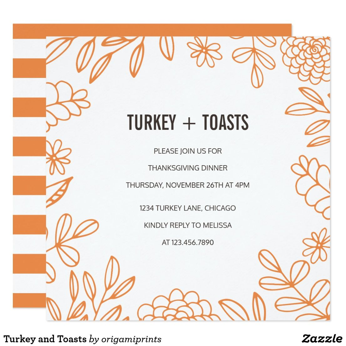 Turkey and toasts card modern thanksgiving dinner party invite turkey and toasts card modern thanksgiving dinner party invite design featuring orange floral designs and contemporary monicamarmolfo Choice Image