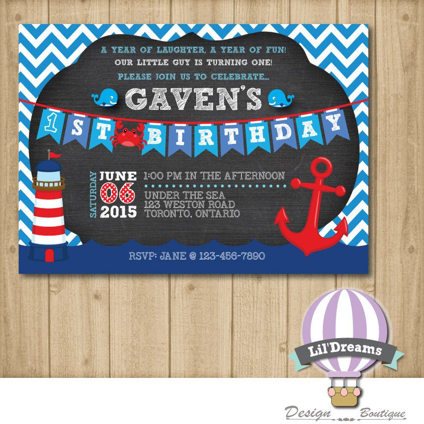 Nautical Birthday Invitation Marine Blue Stripes Red Sailor First 1st Chalkboard Printable Digital