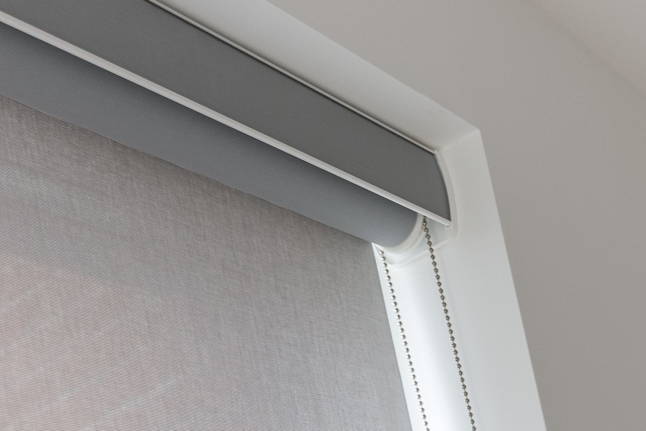 Sunscreen Roller Blind With Matching Pelmet Made To Measure Installed To Living Room In