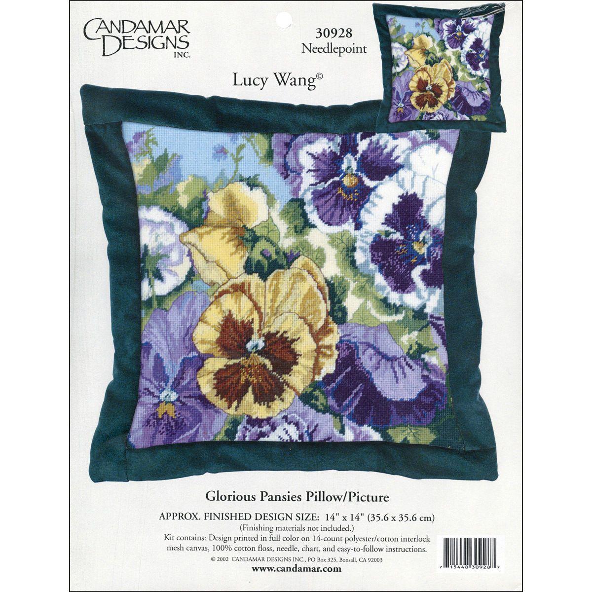 Candamar Designs Needlepoint Kit Floral Glorious Pansies