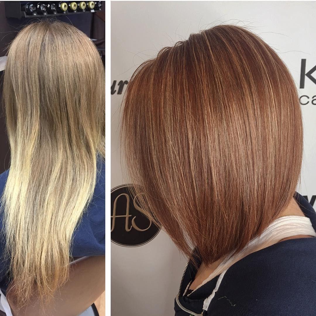 Rose Gold Hair Color Plus A Short Hair Cut Transformation Into A Bob