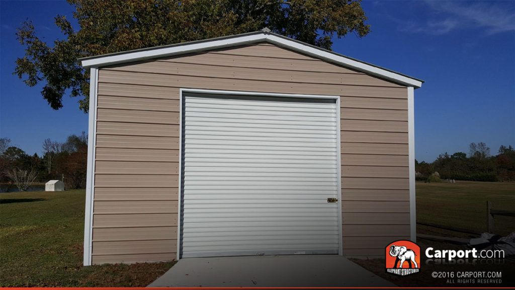 18' x 21' Regular Style Metal Shed with Garage Door