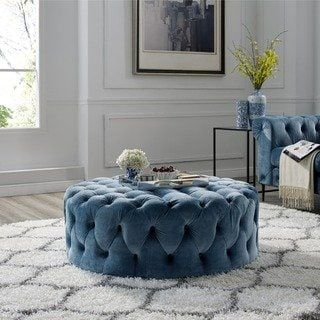 Terrific Corvus Tufted Velvet Round Ottoman With Casters Grey Gray Caraccident5 Cool Chair Designs And Ideas Caraccident5Info