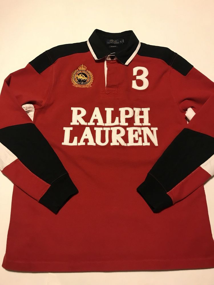 1d8aaae6f9da  145 POLO RALPH LAUREN MENS LONG SLEEVE RUGBY RED BLACK LARGE