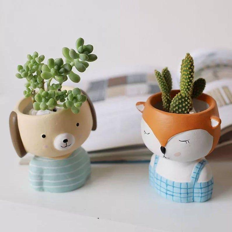 Small Ceramic Cartoon Character Pots Handmade Animals Succulent Planter Decoration In 2020 Handmade Decorative Planters Piece Flower