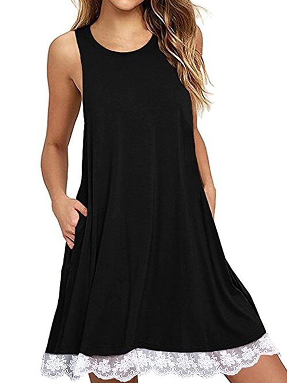 Women S Sleeveless Lace Trim Loose Fit Flowy Tunic Tank Top Black C318c3xkonx Fashion Fashion Clothes Women Lace Tunic Dress [ 1500 x 1126 Pixel ]