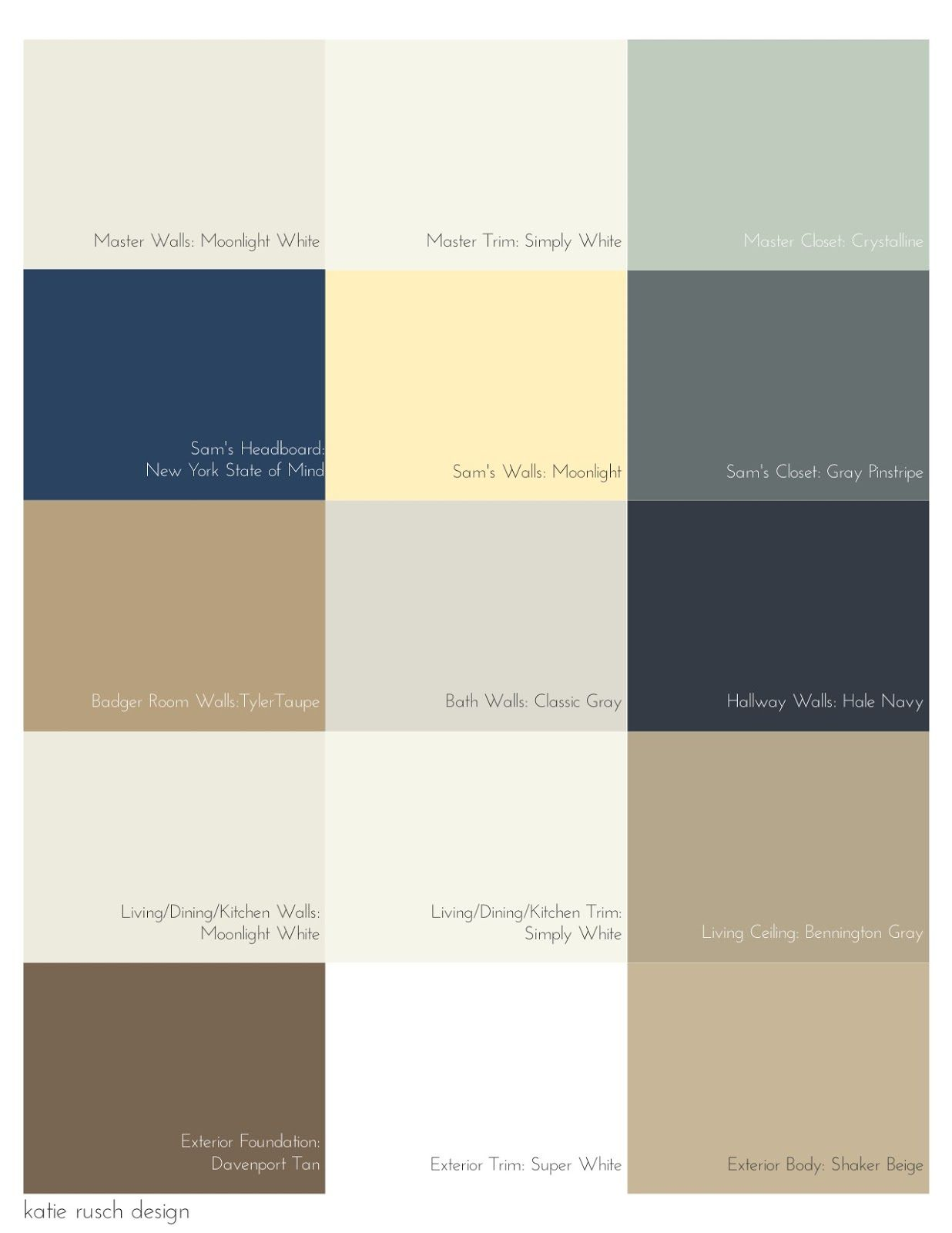 Picking a palette for your whole house katie rusch for Exterior house color palette ideas