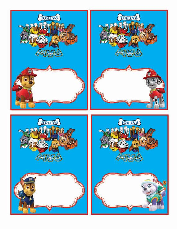 Paw Patrol Food Labels Food Tents Cards Tags Paw Patrol Party Printable Paw Patrol Instant Paw Patrol Party Paw Patrol Printables Paw Patrol Printables Free