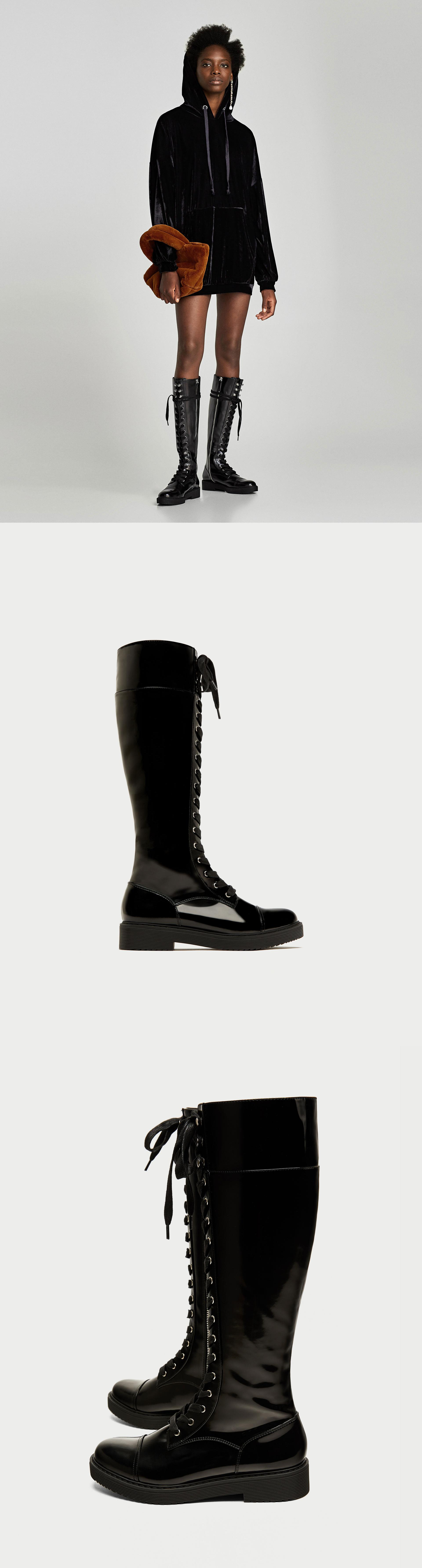 Lace Up Flat Over The Knee Boots 89 90 Usd Zara Flat Tall Military Boots In Black With Lace Up Fas Over The Knee Boots Zara Fashion 2017 Lace Up Flat