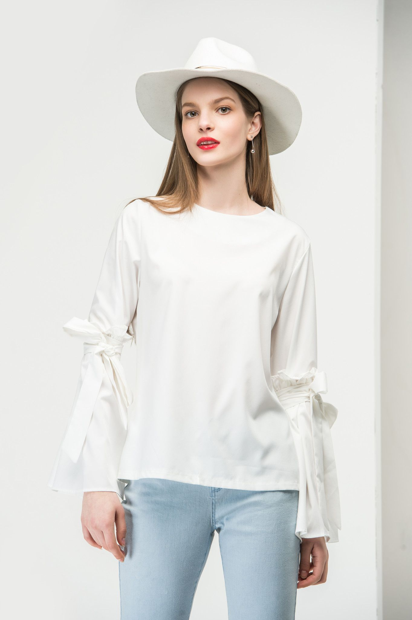 White Tie Sleeve Top TP1812
