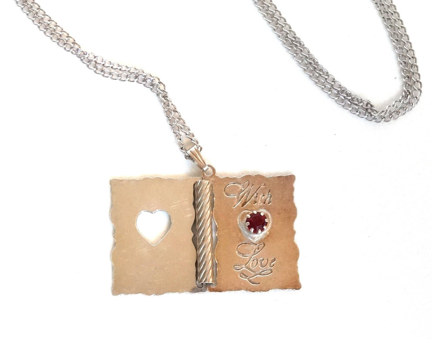 Vintage sterling silver book pendant necklace ruby red stone