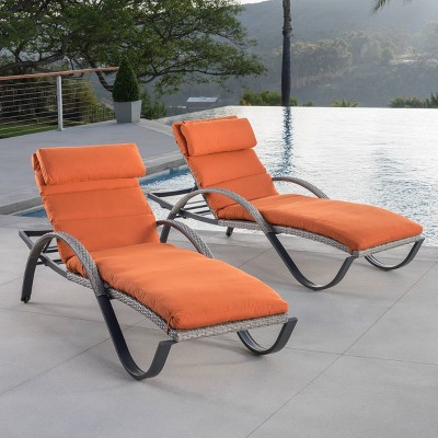Cannes 2pk Chaise Lounges With Cushions Orange Rst Brands Outdoor Chaise Lounge Cushions Sun Lounger Outdoor Chaise Lounge