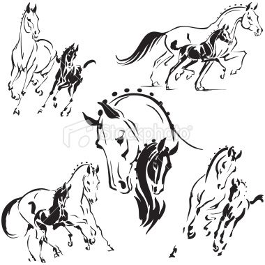 Simplified Silhouettes Of Mares And Foals For Stud And Breeding Horse Painting Horse Drawings Horse Art