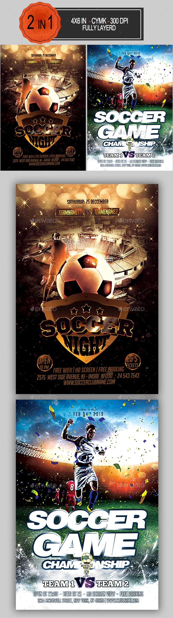 Soccer Flyer Bundle  Event Flyers Flyer Template And Font Logo