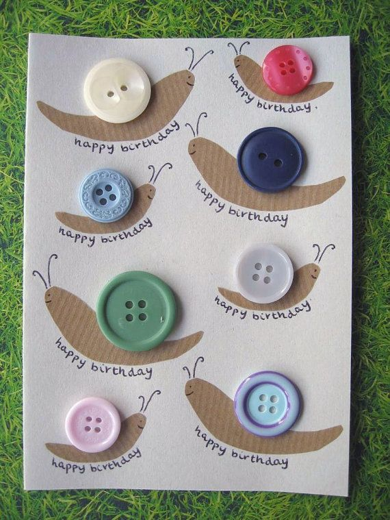 Button Snail 'Happy Birthday' Card. Unique and unusual design made with real buttons. Nature, woodland, insect, butterfly, bird, upcycling.