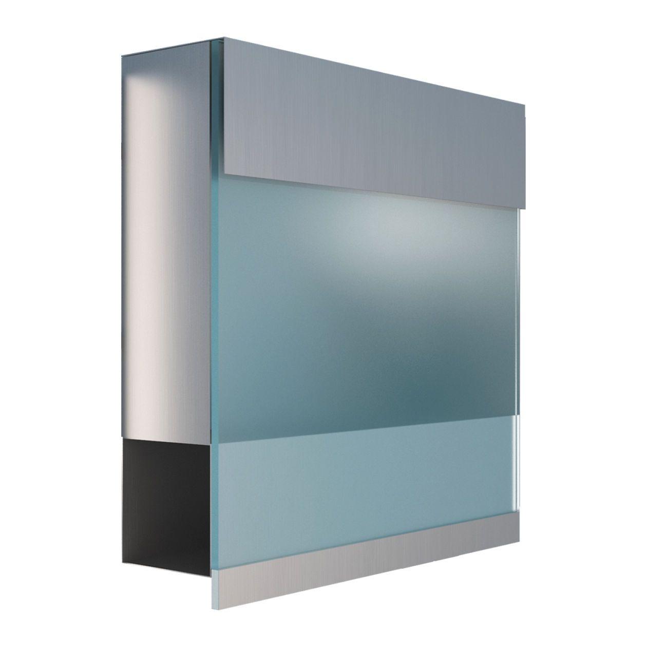 Briefkasten Manhattan Special Blue Edelstahl Mit Blauer Acrylplatte Briefkasten Design Briefkasten Kasten