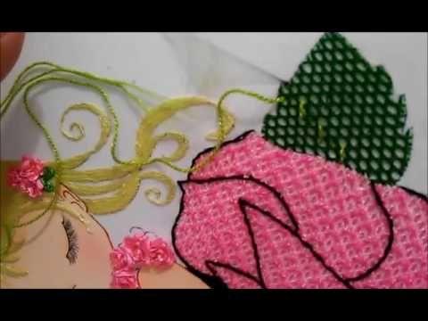 Puntada fantasia hoja niña rosa y red (repeticion)